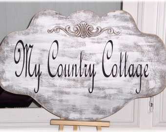 Custom Sign Personalized Shabby Cottage Wood White For Home Or Business