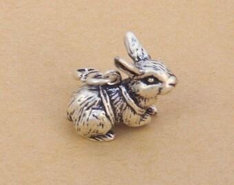 Rabbit alice pendant large 25mm silver 3d charm