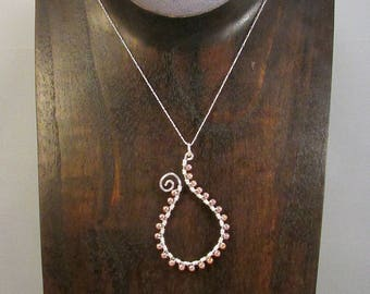 Silver paisley outline with beads necklace