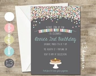 Pancakes and Pajamas Birthday Invitation, Girl Sleepover birthday invite, girl birthday invite, pancake birthday, pajama party, confetti