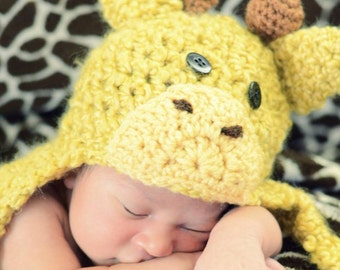 Giraffe Hat - Baby Giraffe Hat -  Baby Hats - Halloween Costume - Baby Shower Gift - Giraffe photo Prop - by JoJosBootique