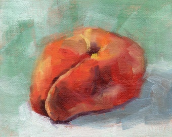 Apricot painting, small oil painting, fruit painting, wall decor, food art, kitchen art by Marlene Lee Art