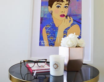 AUDREY HEPBURN Art Print, Wall Art, Poster, Feminine Icon, home decor, canvas, interior design, portrait, illustration, Gift, pop art look