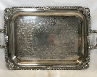 Vintage Silverplate Ornate Floral Pattern Handled Serving Tray