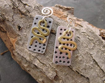 Handcrafted Jewelry Upcycled Dangle Earrings Recycled Mixed Metals. Made to Order RCE-13