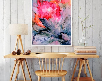 Abstract print, watercolor art, abstract art, red print, red abstract, red poster, wall art, large wall art, home decor, wall decor