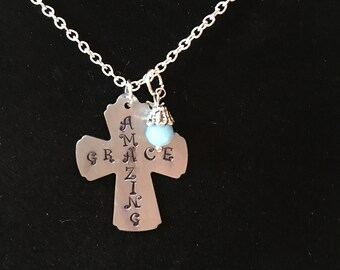 Amazing Grace cross with mini cross charm and beaded charm