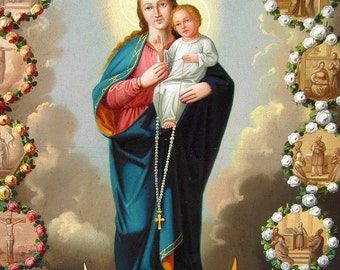 Virgin Mary print Catholic prints Our Lady of Rosary Catholic posters religious paintings Christian gifts Catholic gifts Religious gifts