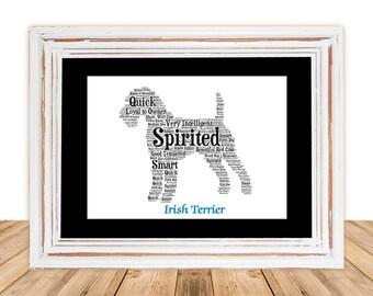 Irish Terrier, Irish Terrier art, Custom, Personalize, Pet Gift, Gifts Under 25, Dog Art, Pet Art, Pet Memorial, Custom Dog