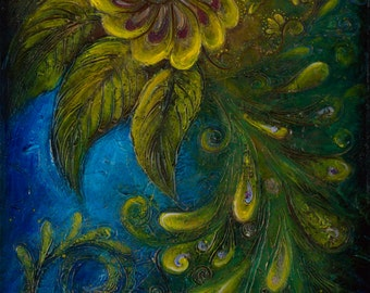 Flair - Peacock Large Surreal Acrylic Original Texture Painting on Canvas 20 x 45 inch / Deep Blue, Yellow, Gold / Eclectic Ethnic Wall Art