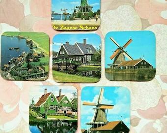 Vintage drink coasters, drink coasters, drink ware, dutch drink coasters, windmill drink coasters, square coaster, boho, retro, kitchen ware
