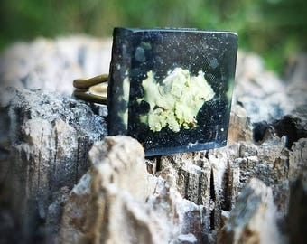 Leshy, Forest Dwellers Collection, Black Tourmaline and Lichen Ring