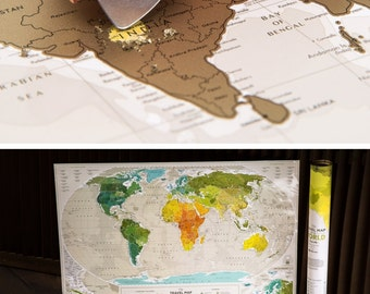 Unique Wedding Gift for Couple -- Scratchable Travel Map by TheMapLab