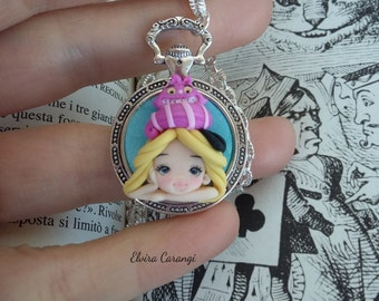 Alice in wonderland and cheshire cat necklace polymer clay creations