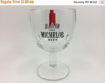 Sale Vintage Michelob Goblet Glass Thumb Print Beer Glass 1970's Breweriana