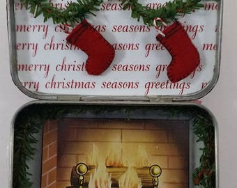 Christmas in a Tin --  Diorama in Mint Tin -- Miniature Fireplace, Stockings -- Fun and Funky Assemblage --  Gift, Stocking Stuffer