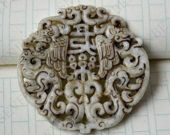 Double Side face carving Phoenix and Dragon jade jade Flower Long Life Card pendant Bead Gemstsone,Amulet Talisman jade pendant findings