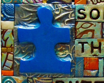 Solve the Puzzle - Autism - Mosaic Gift - Birthday Gift - Inspirational Gift - Polymer Clay Tile Mosiac - MM40003-16