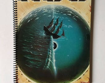 """Kansas Spiral Notebook Sketchbook Hand Made from Authentic Upcycled Vinyl Record Album Cover """"Point of Know Return"""""""