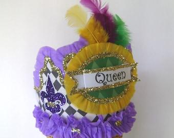 Mardi Gras Hat , Mardi Gras Crown, QUEEN, Mardi Gras Party Hat, Customize