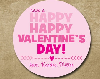 Personalized Treat Bag Stickers for Valentine's Day, Happy Valentine's Day, Classroom Valentines