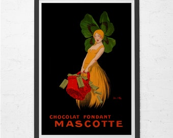ANTIQUE CHOCOLATE POSTER - Mascotte Chocolate Ad - Chocolate Lover Gift, Kitchen Wall Art, Antique Poster, Ribba Size Home Decor
