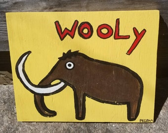 """Woolly Mammoth Painting Outsider Art Kids Room Decor Art for Baby Nursery Mammoth Fans Collector 12""""x10"""""""
