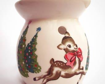 Hand decorated ceramic deer wax burner, Cath Kidston, vintage deer, wax melt, wax burner,