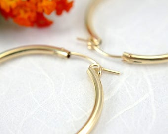 34mm 14k gold filled hoop earrings large size 1.34 inch hollow tube hoop earrings lightweight earrings gold hoops round lever closure clasp