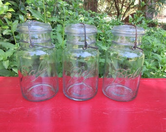 3 Vintage Ball Ideal Canning Jars with Wire Bail and Glass Lids Quart Size