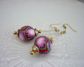 Earrings with pink fuchsia polymer bead