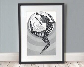 The Night Circus Print / Circus Poster / Circus Art / Circus Print / Wall Art / Retro Circus / Book Lover Gift /  The Night Circus A3 Print