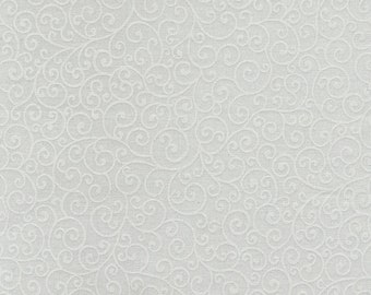 Timeless Treasures -  White on White - Scroll  - Hue - Sold by the Yard