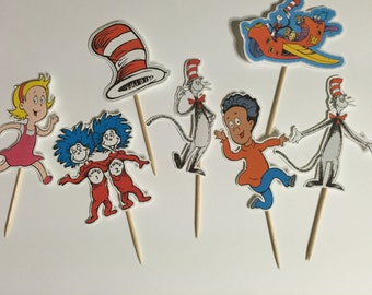 The Cat in The Hat cupcake toppers (picks)