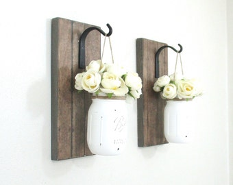 Set of 2 Hanging Mason Jar Sconce.. Wood Wall Decor... Rustic Farmhouse Decor..Mason Jar Wall Decor.Rustic Stained Looking Wall Sconces.