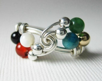 Christian Jewelry -- Colors of Faith -- Wordless Book Wire Wrapped Ring Sterling Silver