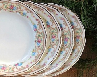 Mount Clemens Mildred Bread and Butter Plates Set of 4 Cottage Style Tea Party, Farmhouse Tableware Wedding, Bridesmaid Gift, Ca. 1930s