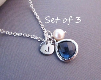 Set of 3 Bridesmaid Necklaces --  Disc with Initial, Jewel, and Pearl, Personalized Necklace, Bridesmaid Gift, Birthstone Necklace