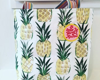 Pineapple Tote/ Beach Bag/ Rainbow Straps/ Market Bag