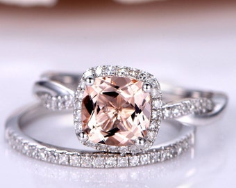 2PCS Bridal Set 8mm Cushion Cut Morganite Engagement Ring Twist Wedding Band Infinity Ring Half Eternity Diamond Wedding Band 14K White Gold