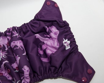 Purple and Plum Dino Panel Cloth Diaper - One Size Diaper - OS Baby Diaper - Cloth Cover - Pocket Diaper - Velcro or Snaps