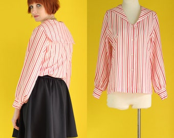Vintage 80s Sailor Shirt - Red and White Striped Shirt - Striped Blouse - Sailor Blouse - Secretary Blouse - Long Sleeve Blouse - Size Large