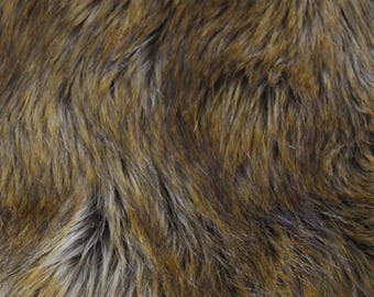 Pawstar Fur Yardage Pepper Fox - Realistic Brown Fur Faux Fade Gradient Crafting Supply Wolf Husky Soft Low Shed Luxury Long Pile Shag 9530