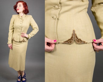 1940s Gorgeous Tailored Taupe Wool Suit with Gold Beading - Size Small | 40s Skirt Suit |
