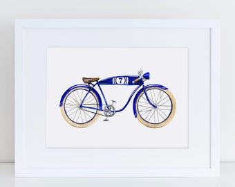 Vintage Inspired Royal Blue Racing Bicycle Fine Art Watercolor Print