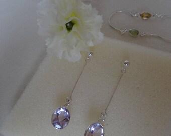 Long Silver earrings with Amethyst, Silver 925