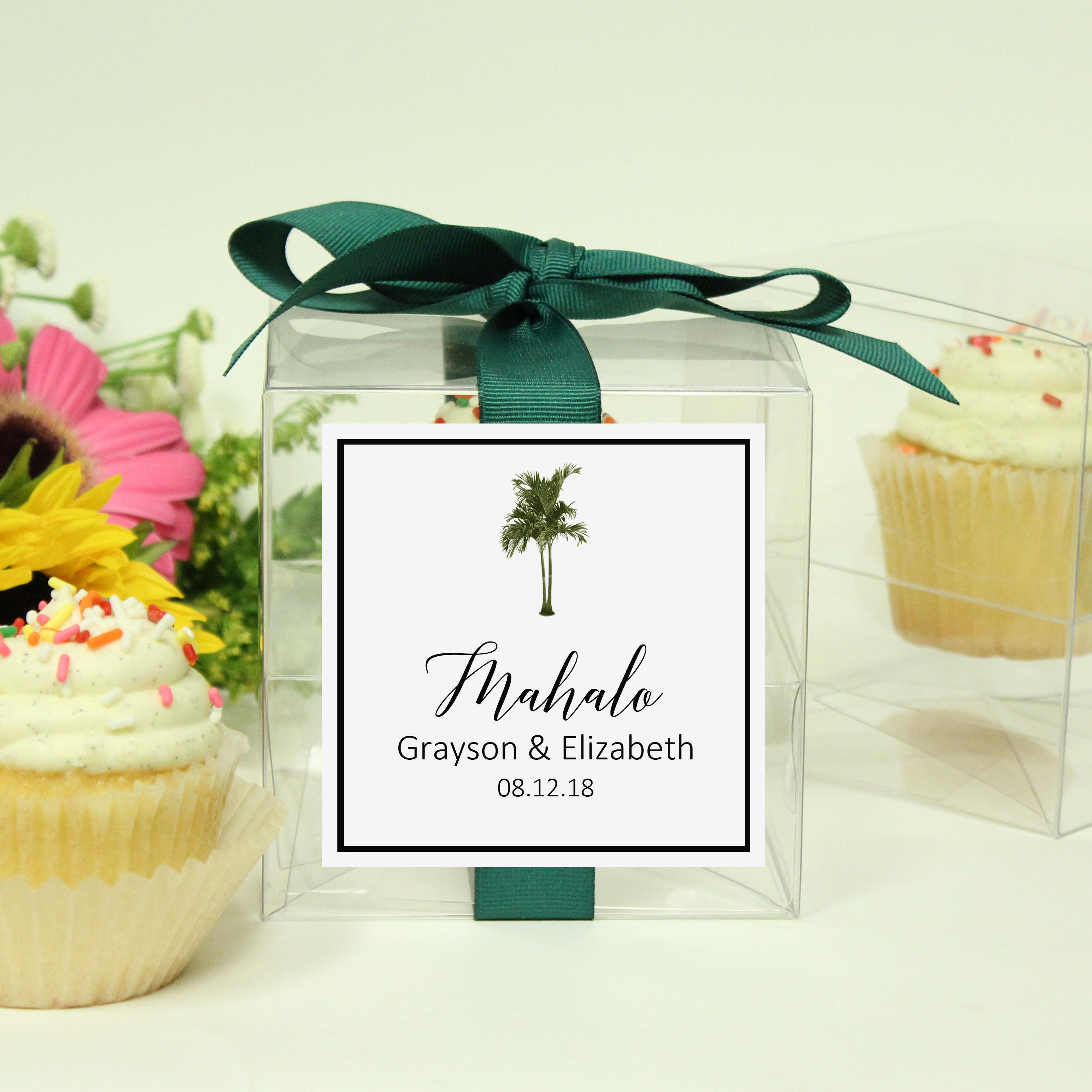 8 Vintage Palm Tree Cupcake Boxes Tropical Wedding Favor