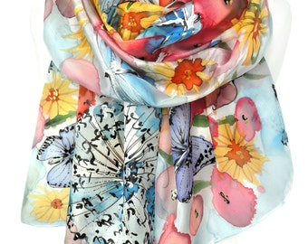 Hand Painted Silk Scarf. Floral Fashion Scarf. Woman Silk Shawl. Colorful Anniversary Gift. Genuine Silk Art. 18x71in MADE to ORDER