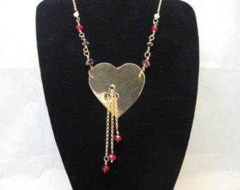 Brass and Crystal Bleeding Heart Necklace (MX-12001-004)