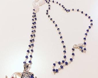 Lapis Lazuli Moonstone Elephant Handwired Necklace
